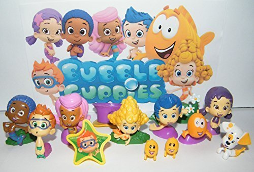 Nickelodeon Bubble Guppies Toy Figure Set of 13 with Bubble Puppy, Goby, Deema, Gil, Oona, Underwater Scenery, Baby Guppies Etc and Special ToyRing!