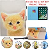 iPad 9.7 2017 Case, Newshine Smart Stand Case with Card Slots for Apple iPad 9.7-inch 2017 Release Model A1822 1823/iPad Air/iPad Air 2 (Auto Sleep/Wake), Yellow Cat