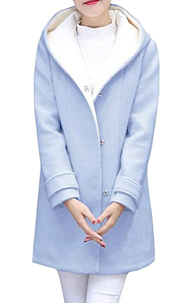 a3a69a904b8eb Amazon.com  Cromoncent Womens Winter Wool Blend Snap Button Hooded Pea Coat  Trench Coat  Clothing