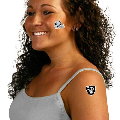 NFL Oakland Raiders 8-Pack Waterless Temporary Tattoos (Tattoos Waterless)