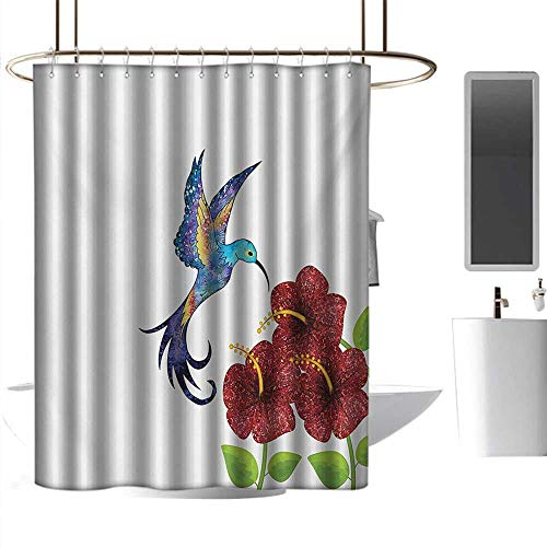 homehot Shower Curtains Liners for Bathroom Hummingbird,A Hummingbird in Flower Garden Fantasy Tails Wings Imaginative Artwork,Burgundy Green,W108 x L72,Shower Curtain for Men ()