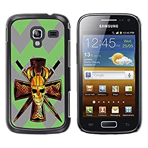 - Devil Cross Chevron Pattern - - Hard Plastic Protective Aluminum Back Case Skin Cover FOR Samsung GALAXY Ace 2 I8160 Queen Pattern