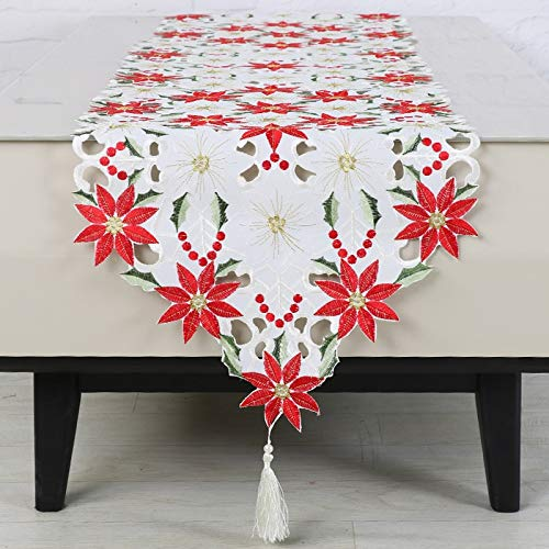 (Runner Bed - 40x180cm Embroidered Table Runner Cutwork Christmas Tablecloth Decoration Year - Violet Pack Texas Disney Lavender Color Machine Geometric Rustic Owls Multi Dusty Napkins Nar)