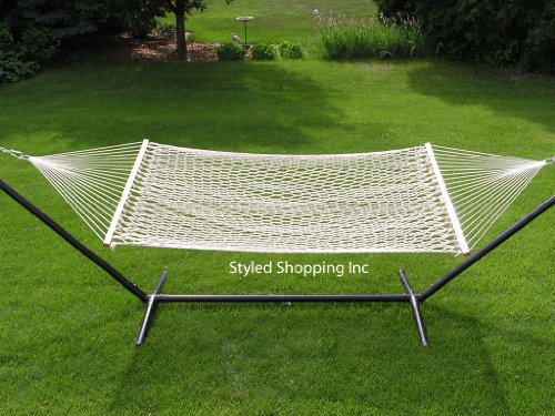 Styled Shopping Extra Large Deluxe 2 Person White Rope Hammock Extra Soft Poly Rope