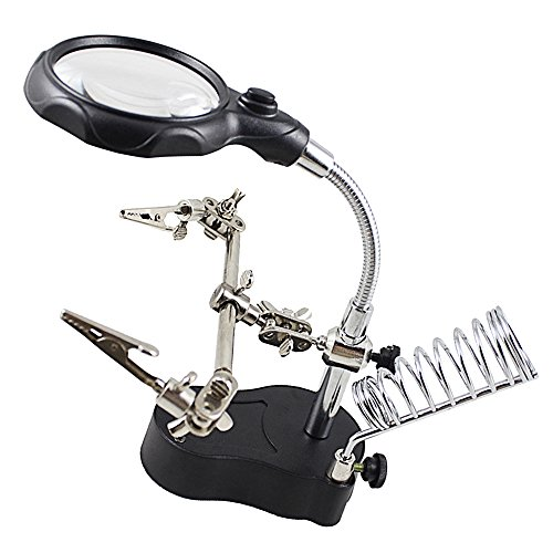 3.5X 12X LED Light Magnifier Desktop Repair Magnifier with Auxiliary Clip LED Light Electric Soldering Iron Bracket