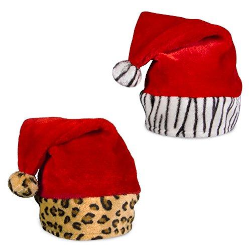 Zebra & Leopard Print Plush Santa Hats (2 Pack) (Punch Party Hat)