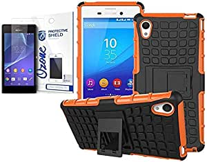 Ozone Tough Shockproof Hybrid Case Cover with Screen Protector for Sony Xperia M4 Orange