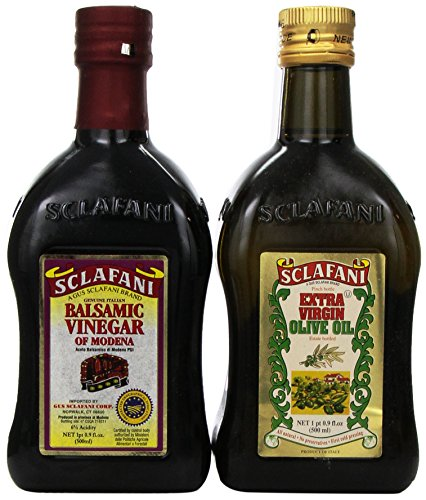 Sclafani Genuine Extra Virgin Olive Oil and Balsamic Vinegar of Modena Italy Gift Pack