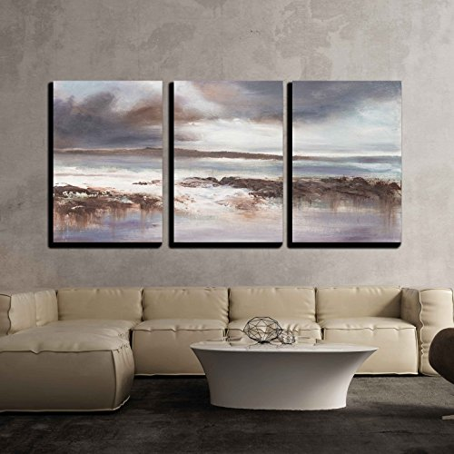 vas Wall Art - Original Oil Painting, Stormy Beach Seascape. - Modern Home Decor Stretched and Framed Ready to Hang - 24