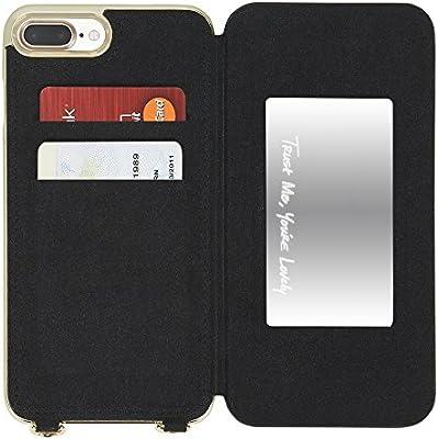 5b513daa8d23 Amazon.com  Rebecca Minkoff Mirrored Folio Crossbody for iPhone 7 Plus -  Black - RMIPH-039-BLK  Cell Phones   Accessories