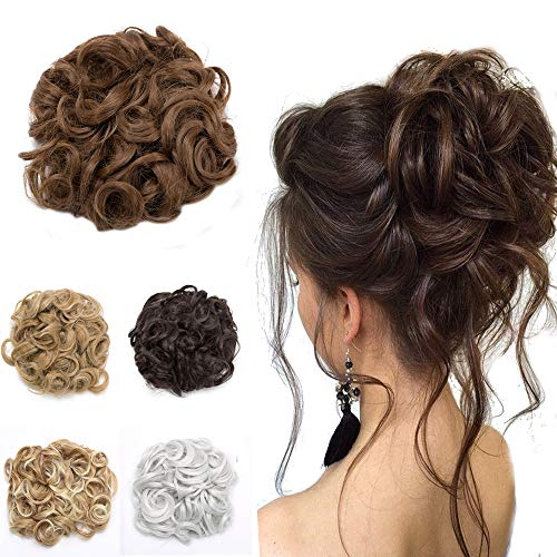 (Elailite Messy Curly Combs Hair Bun Extensions Easy Stretch Hair Dish Chignon Clip in Updo Hairpiece Ponytail for Women 95 Light Brown)