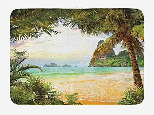 Mat Green Island Decor (Ambesonne Ocean Bath Mat, Palm Coconut Trees and Ocean Waves Mountains on Paradise Island Beach Image, Plush Bathroom Decor Mat with Non Slip Backing, 29.5 W X 17.5 W Inches, Green Brown Cream)