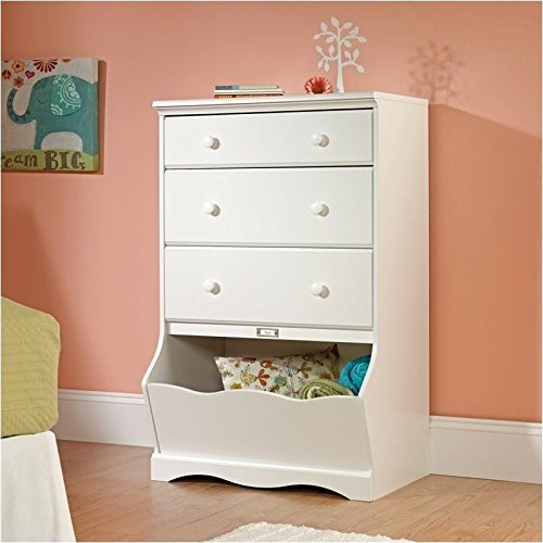 Sauder Pogo 3-Drawer Chest, Soft White Finish (Kids Furniture Dresser)