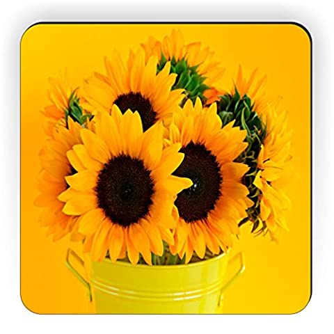 Rikki Knight Sunflowers in Vase Design Square Fridge Magnet