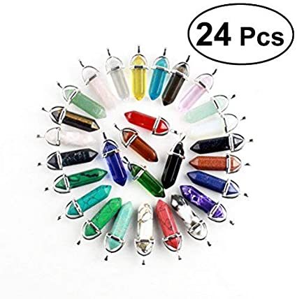 rosenice 24unidades hexagonales Reiki colgante kistall piedras preciosas Pendant Para Collar DIY Joyas hacen (Despacho Colores)