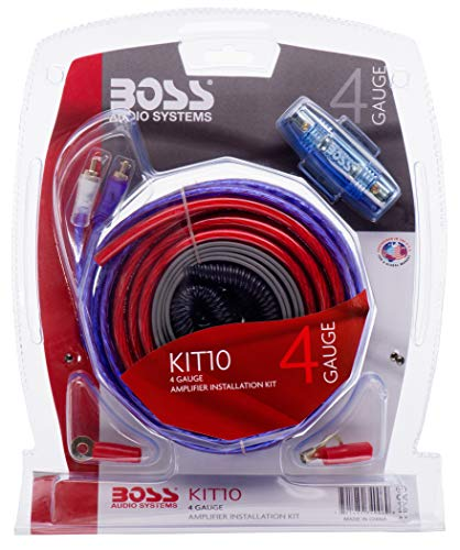 BOSS Audio KIT10 4 Gauge Amplifier Installation Wiring Kit – A Car Amplifier Wiring Kit Helps You Make Connections and Brings Power to Your Radio, Subwoofers and Speakers