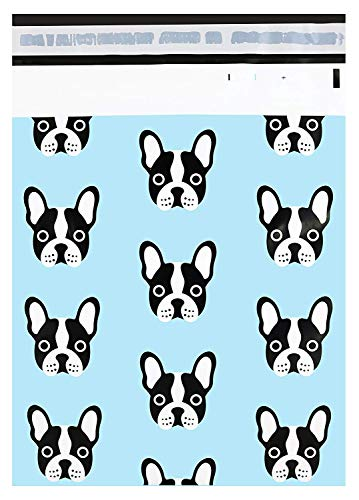 Pack It Chic - 10 X 13 (100 Pack) Frenchie Dog Poly Mailer Envelope Plastic Custom Mailing & Shipping Bags - Self Seal (More Designs Available)