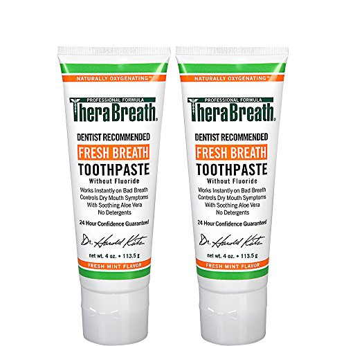 TheraBreath Dentist Formulated Fresh Breath Toothpaste without Fluoride, Mild Mint, 4 Ounce (Pack of 2)