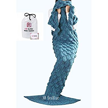 BTOZ Handmade Mermaid Tail Blanket for Adults,Warm Sofa Quilt Living room blanket for Adults and Kids 190cmX90cm(74.8 inch x35.4 inch ) (Lake Blue)