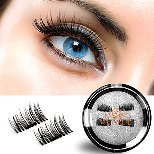 False Magnetic Eyelashes Reusable Fake Eyelashes Ultra Thin 1Pairs 4 Pieces Natural Look magnetic Halloween Cosplay Mink Fur 3D Natural False Eye (Best Halloween Looks)
