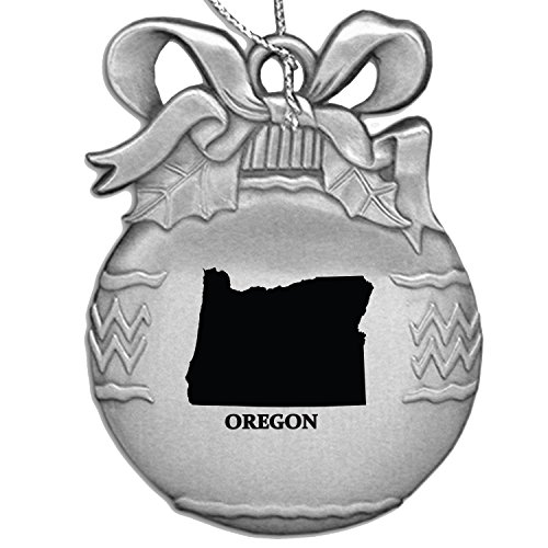 Oregon-State Outline-Christmas Tree Ornament-Silver
