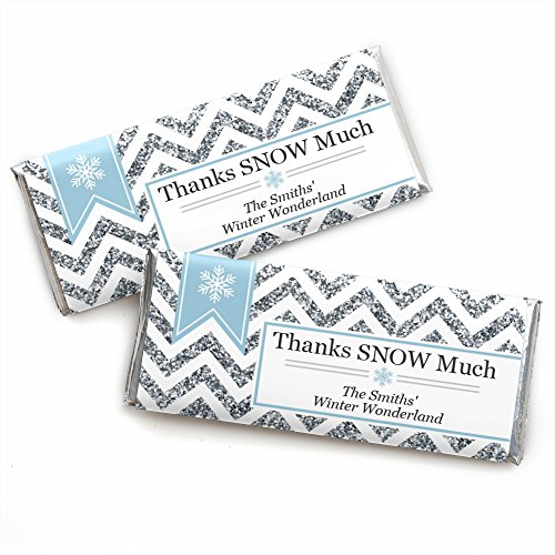 Custom Winter Wonderland - Personalized Snowflake Holiday Party & Winter Wedding Favors Candy Bar Wrappers - Set of 24