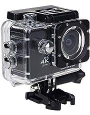 كاميرا 4K سبورت أكشن، شاشة إل سي دي 2 بوصة بدقة 12 ميجابكسل فل اتش دي 1080P 60fps كاميرا رياضية مقاومة للماء مع عدسة ذات زاوية عريضة للغاية 170