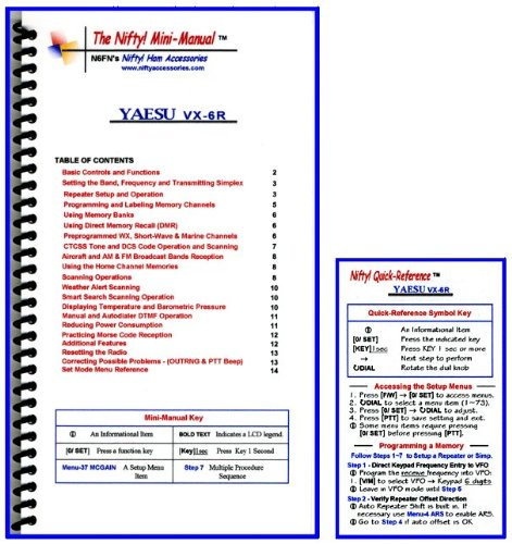 Yaesu VX-6R Mini-Manual and Card Combo by Nifty Accessories ()