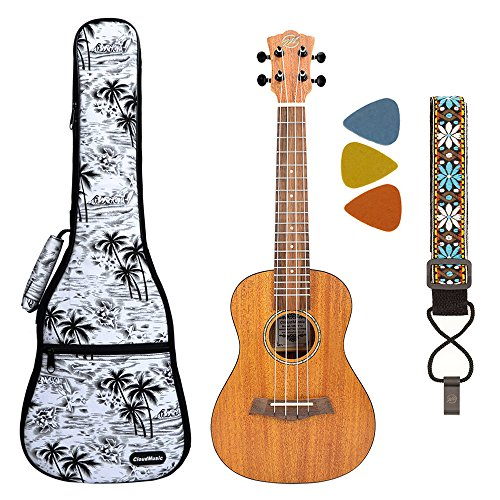 CLOUDMUSIC Concert Mahogany Solid Top Bundle With 10MM Ukulele Fashion Soft Case Tuner Hook Strap Felt Picks For Beginner Advanced Player Kit (Black and White Palm Tree)
