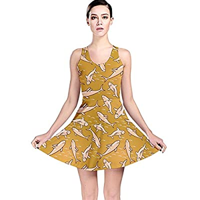 CowCow Womens Yellow Stylized Sharks Stylish Design Reversible Skater Dress