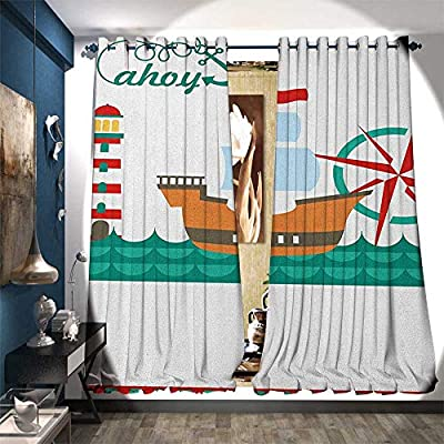 Thermal Insulating Blackout Curtain Sail Boat on Sea Waves Lighthouse and Compass Anchor Icons Celebration Drapes for Living Room Teal Brown Red
