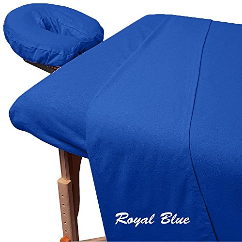 Rinku Linen 300 Thread Count Egyptian Cotton 3-Piece Massage Table Spa Sheet Set Royal Blue Solid