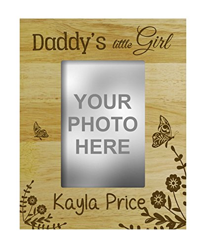 Personalized Daddys Girl - Engraved Wood Personalized Daddy's Little Girl Picture Frame With Name Gift-4 x 6 Inches Vertical - Customizable Quote