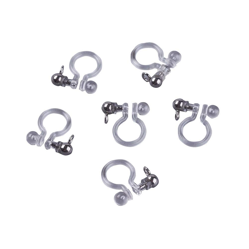 PandaHall About 100 pcs Transparent U Type Alloy Ear Clip Hole: 2mm 11x10x3mm Painless Prevent Allergy Resin for Women Men Jewelry Making Platinum