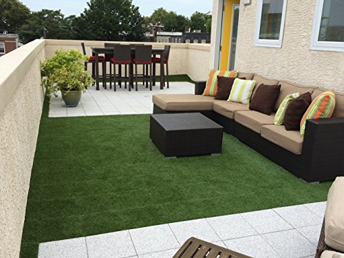 Golden moon grass tile series pp interlocking grass deck for Grass carpet tiles