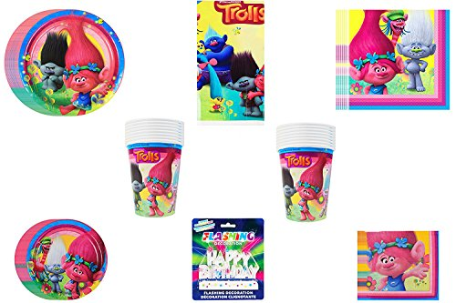 Trolls Mega Party Pack ~ Dinner Plates & Napkins / Dessert Plates & Napkins, Cups, Tablecover & Flashing Decoration