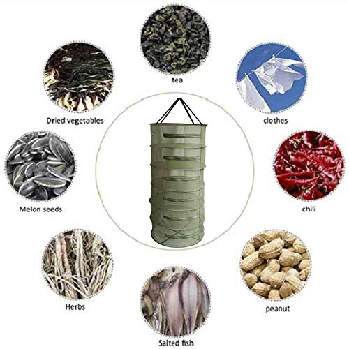 (6 - Layer Military Green Drying Net Herb Drying Rack Net Basket Rope Zipper Closed Fly - Proof Basket Net Ventilated Breathable Foldable Dry Net Herb Dryer)
