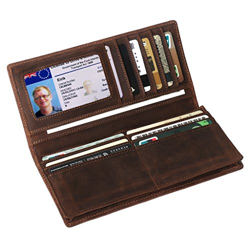 Mens Long Leather Wallet, LeatherFocus RFID Blocking Purse Money Clip (Brown)
