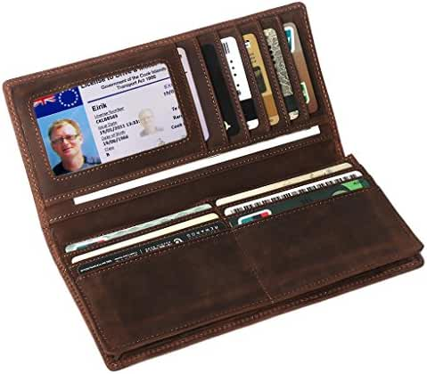 RFID Blocking Wallet,LeatherFocus Mens Leather Long Money Clip