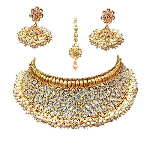 Efulgenz Indian Bollywood Traditional 14 K Gold Plated Crystal Pearl Wedding Temple Choker Necklace Earrings Maang Tikka Jewelry Set Jaipur Art Jewellery MNT667