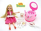 Little Treasures Appliances – realistic pretend play kitchen toy set for girls of age 3+, battery powered mini cooker with cooking utensils, cutting board and a pretty doll, your little girl's partner