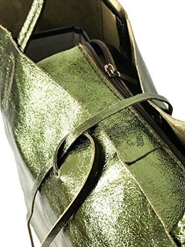 RW cm 37 poignée x SH30441 13 x en x métallisée bandoulière longueur 40 Shopper fabriqué ca souple sac de cuir la largeur Vert à hauteur poche Fashion Italie hanche x Métallisé de r7SwqHr