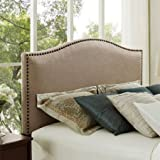 Better Homes and Gardens Grayson Linen Headboard with Nailheads, Color Beige, Size: Full/Queen
