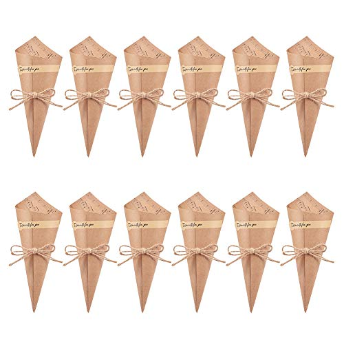(WANDIC Retro Kraft Paper Cones, 50 Pcs Wedding Confetti Cones Bouquet Petals Candy Bags Boxes Flower Holder with Hemp Ropes Label Stickers Tape)