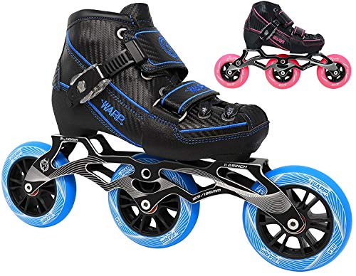 Leather In Line Skates - Warp Children's Inline Speed Skates - Adjustable Kids Rollerblades - Roller Blades for Boys and Girls - Indoor and Outdoor Childrens Roller Skates - Size Adjustable Comfort (Blue, Medium)