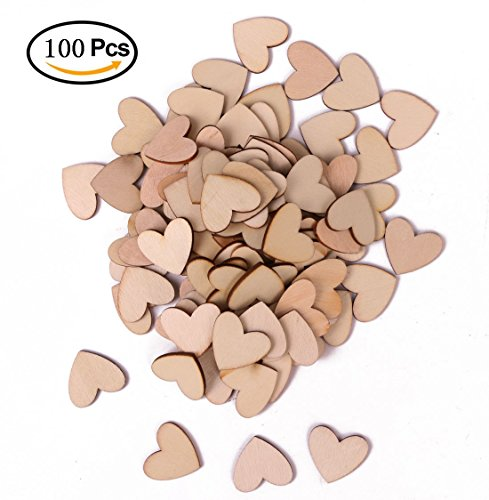 Shapenty Unfinished Blank Wooden Heart Shaped Slices Discs DIY Craft Pieces for Wedding Ornaments Christmas Party Embellishment, Pack of 100 (Christmas Scrapbooking Ornaments)