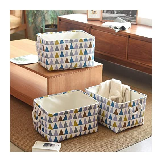 """Fabric Storage Baskets 3-Pack Rectangle Storage Basket Collapsible Baskets for Organizing with Handles for Shelves… - 3 Pack Storage Baskets-15.5"""" L x 11.8"""" W x 8.3"""" H,Functional storage baskets use in the playroom, family room, laundry area, bedroom, closet, storage room, car, etc - Ideal toy baskets or shelf baskets for storage organizer shelves, Home Closet, bookcase , desk, or floor Premium Quality Fabric-This fabric basket is made of durable canvas and thicken environmental EVA,sturdy metal rod frame around the top for stability to keeps its shape even when empty. Durable and high quality material make this storage basket last a good long time.Reinforced cotton rope handles make for easy and comfortable transporting Multi Purpose-Perfect storage basket for toys, books, magazines,dog toys basket,shoe basket,clothes basket,shelf,baby bin,pet toy storage,towel basket,blankets,decorations. Collapsible basket set provides attractive, lightweight solutions to many storage needs while keeping household items tidy and organized - living-room-decor, living-room, baskets-storage - 51bQ1Z6XWBL. SS570  -"""