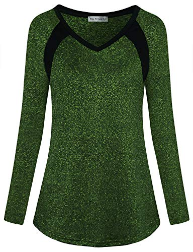Miss Fortune Tennis Tops for Women, Green Long Sleeve Soft Athletic Shirt Yoga Activewear Breathable Run Clothes, M