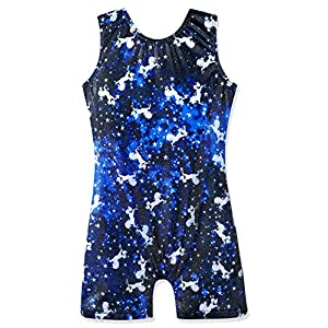 Leotards for Girls Gymnastics Apparel Shiny Ribbons Athletic Shorts Dance Outfit