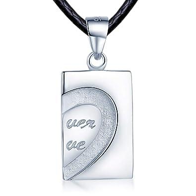 Infinito U - Colgante Pareja de Plata de Ley 925 Tarjeta ...